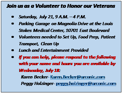 Text Box: Join us as a Volunteer to Honor our Veterans